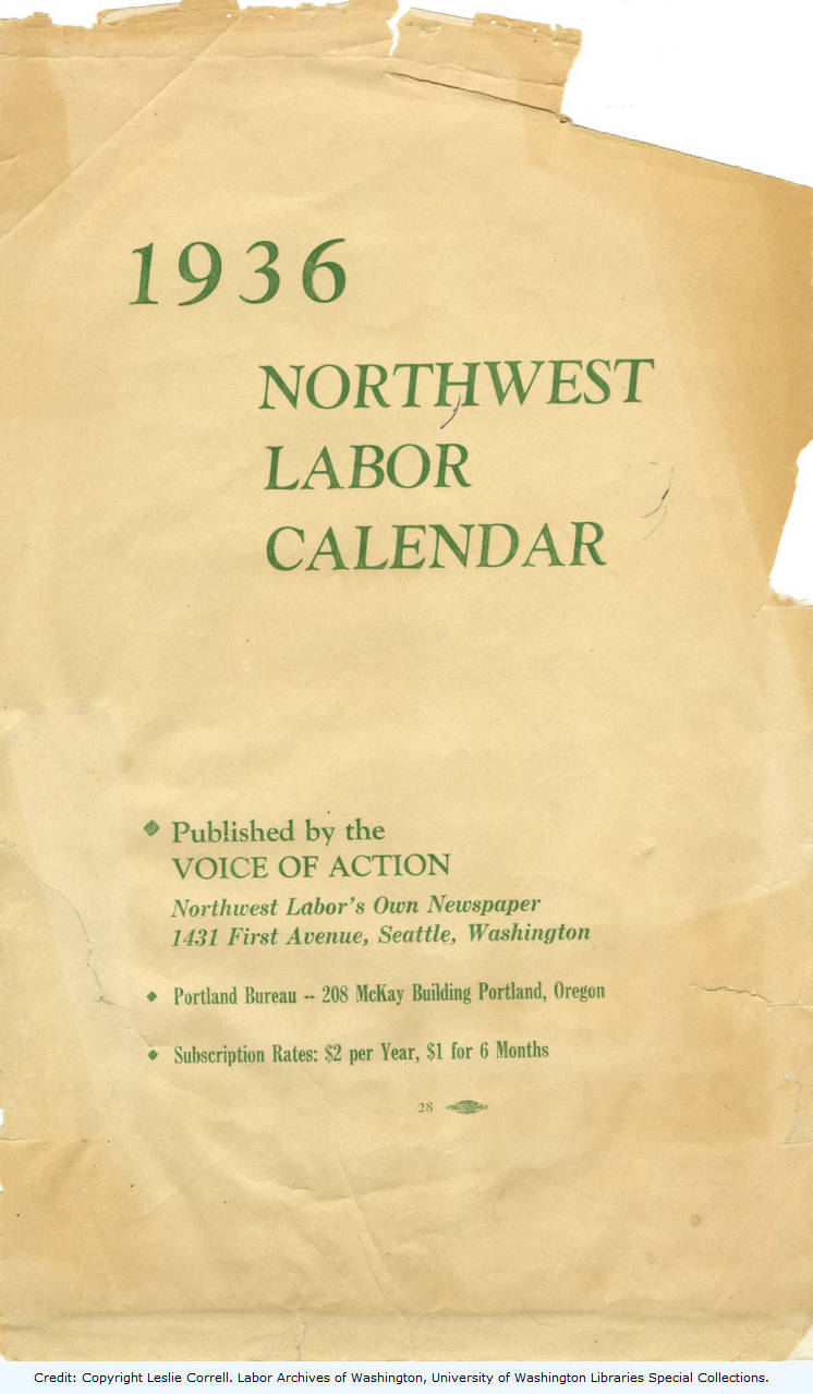 1936 Northwest Labor Calendar, Cover Page - Society and Culture