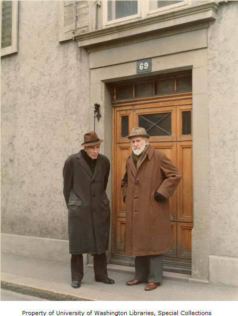 Mark Tobey and Mark Ritter in front of their home in Basel, March 1975