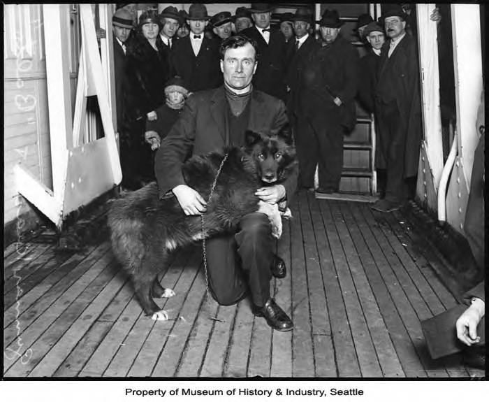 Gunnar Kaasen and dog Balto, Seattle, March 21, 1925 - Museum of History and Industry - University of Washington Digital Collections