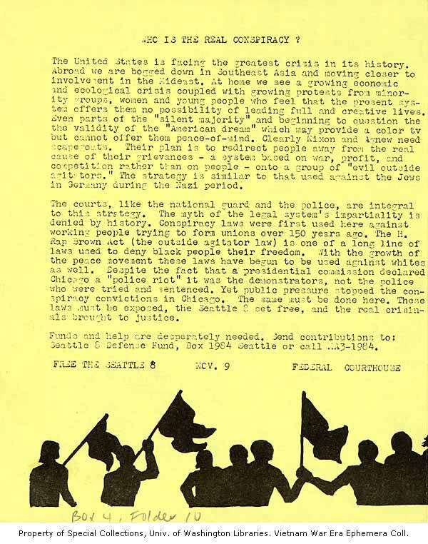 Image shows two paragraphs of text expressing anti-war and anti-capitalist sentiment. The second paragraph focuses on the myth of impartiality in the legal system, specifically with conspiracy laws like the H. Rap Brown Act that have historically been used to criminalize the behavior of demonstrators.